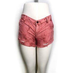 Free People Pink Tie Dye Distressed Shorts sz 2